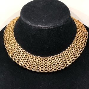 """Awesome Gold Tone 1 1/8"""" Wide Choker Necklace"""